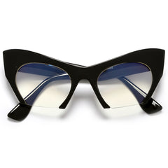 Sharp Rimless Bottom Modernized Cat-Eye Frame-High Fashion Designer Inspired Glasses