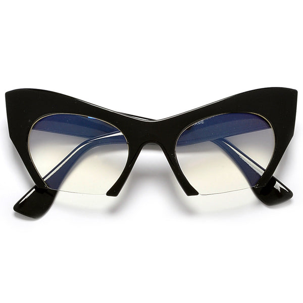 Sharp Rimless Bottom Modernized Cat-Eye Frame-High Fashion Designer Inspired Sunglasses