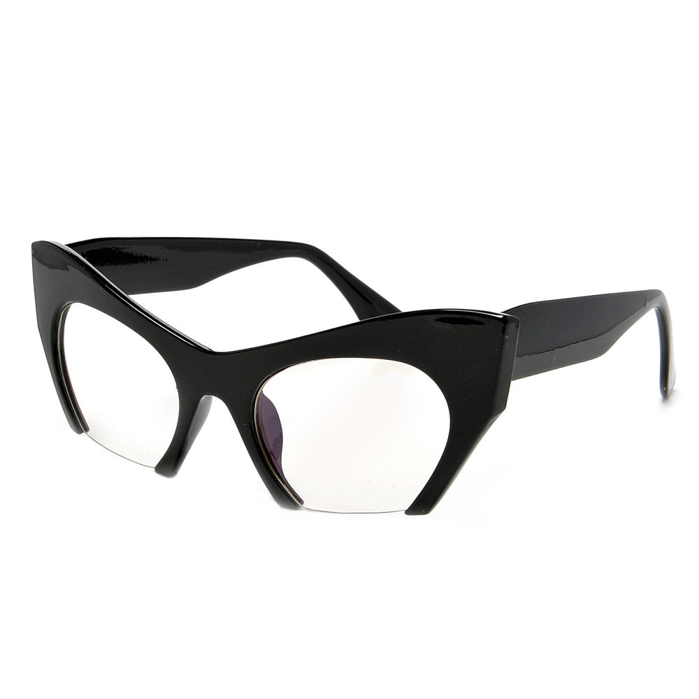 Sharp Rimless Bottom Modernized Cat-Eye Frame-High Fashion Designer ...