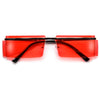 Rimless Rectangular Side Temple Lens Glam Sunglasses