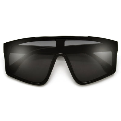 Bold Statement Studded Temple Flat Shield Sunnies - Sunglass Spot