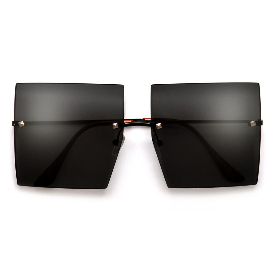 Oversize Rimless Studded Accent Squared Off Sunnies