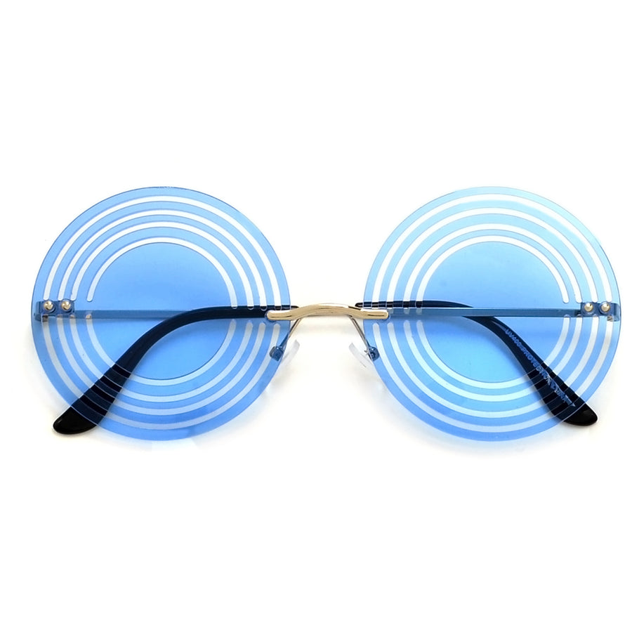 Rimless Circle Cutout Sunnies - Sunglass Spot