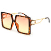 Oversize 60mm Squared Open Cut Out Temple Fashion Sunglasses