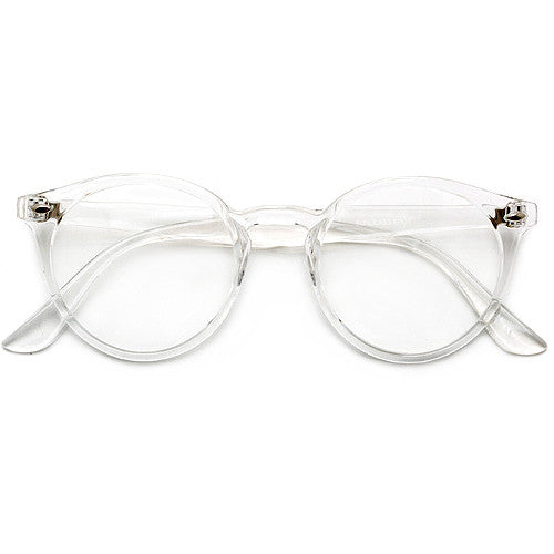 Crystal Clear Retro Inspired Round Keyhole Bridge Clear Lens Eyewear