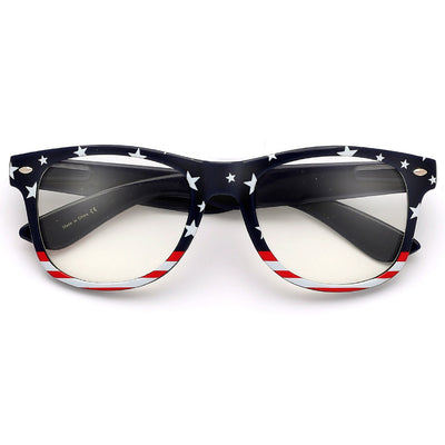 Patriotic Stars & Stripes U.S. Flag Classic Clear Glasses - Sunglass Spot