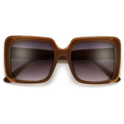 Bold Blocky Ridged Square Frame Sunglasses - Sunglass Spot