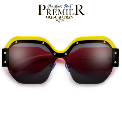 Premier Collection-Hip Hop Artist Inspired Flat Squared Contrast Browline and Bold Temple Sunglasses - Sunglass Spot