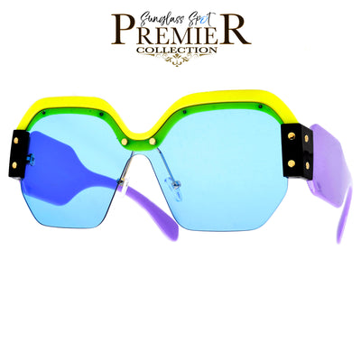 Premier Collection-Hip Hop Artist Inspired Flat Squared Contrast Browline and Bold Temple Sunglasses
