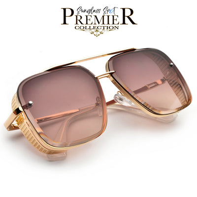 PREMIER COLLECTION-OVERSIZE HIGH QUALITY DETAILED SIDE CUP SQUARED OFF AVIATOR - Sunglass Spot