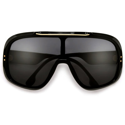 Oversize Ultimate Full Coverage Metal Brow Bar Super Shield Sunglasses - Sunglass Spot