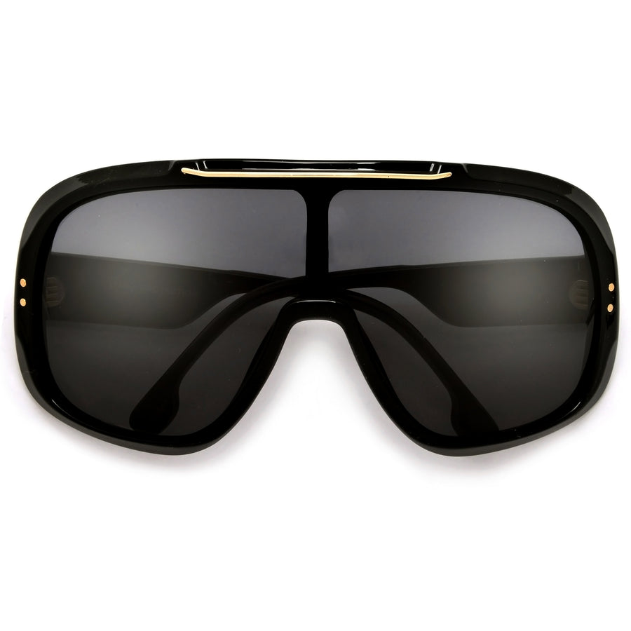 Oversize Ultimate Full Coverage Metal Brow Bar Super Shield Sunglasses