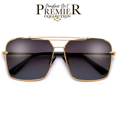 PREMIER COLLECTION-OVERSIZE SLEEK MODERN DOUBLE BROW BAR AVIATOR SUNGLASSES - Sunglass Spot