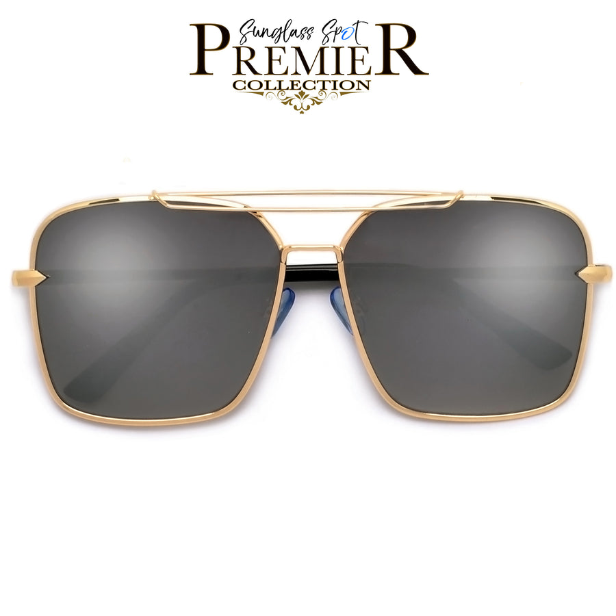 PREMIER COLLECTION-OVERSIZE SLEEK MODERN DOUBLE BROW BAR AVIATOR SUNGLASSES