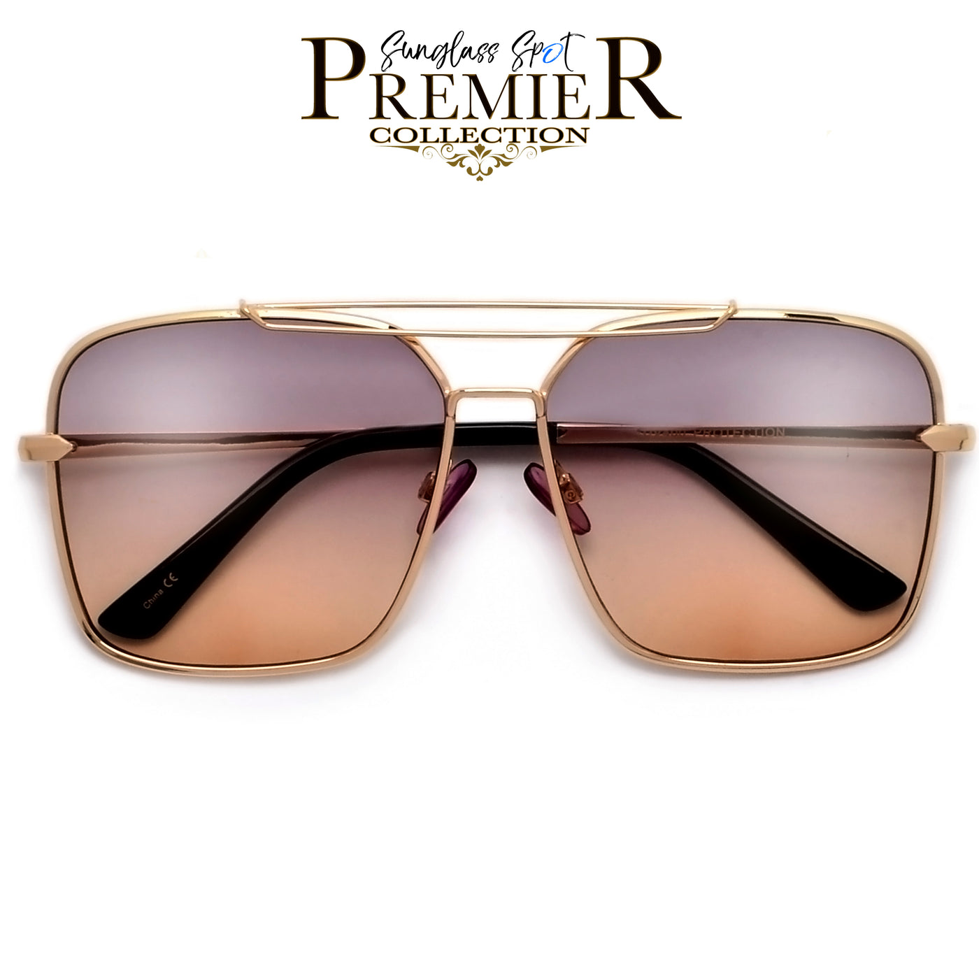 e2c3ebf44a2 PREMIER COLLECTION-OVERSIZE SLEEK MODERN DOUBLE BROW BAR AVIATOR SUNGLASSES