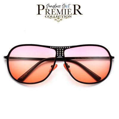 Shimmering Crystal Accent Ultra Chic Aviator - Sunglass Spot