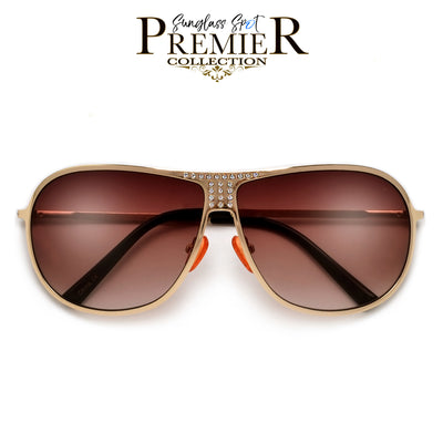 Shimmering Crystal Accent Ultra Chic Aviator