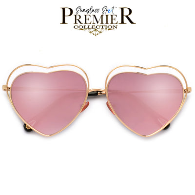 Premier Collection-Adorable Lovely Heart Shaped Cutout Sunnies - Sunglass Spot
