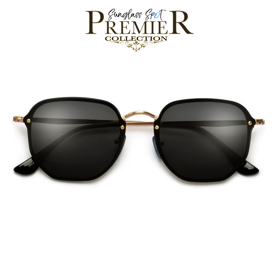 Premier Collection-Futuristic Appealing Geometric Flat Lens Sleek Sunnies - Sunglass Spot