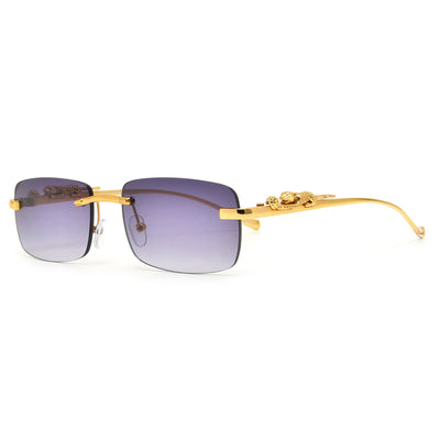 Slim Rimless Cheetah Temple Sunnies