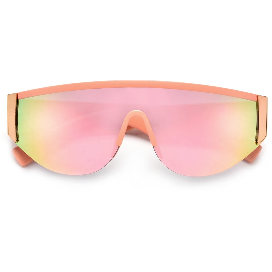 Sporty Semi Rimless Curved Shield Sunnies