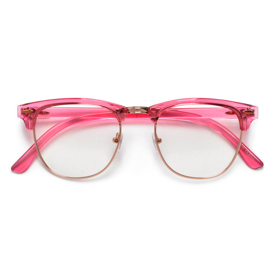 VIBRANT COLORFUL RETRO INSPIRED HALF FRAME SEMI-RIMLESS CLEAR LENS EYEWEAR