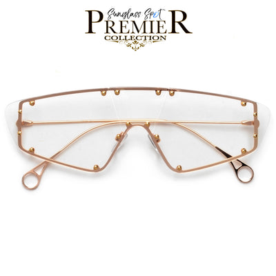 PREMIER COLLECTION-STANDOUT STUDDED RIMLESS SHIELD EYEWEAR - Sunglass Spot