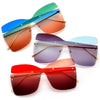 Rimless Multi-Colored Square Cut Out Shield Sunnies - Sunglass Spot