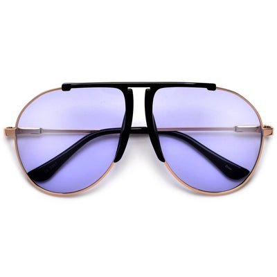 Chic Flat Top Brow Bar Tear Drop Aviator Sunglasses - Sunglass Spot