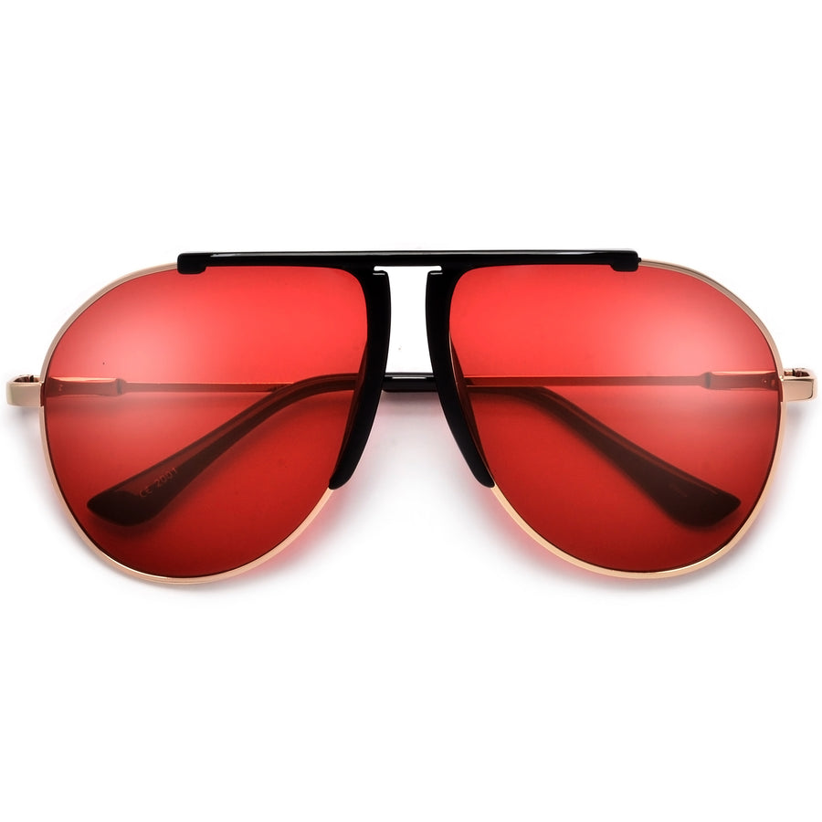 Chic Flat Top Brow Bar Tear Drop Aviator Sunglasses