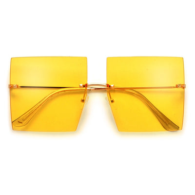 Oversize Rimless Studded Accent Squared Off Sunnies - Sunglass Spot