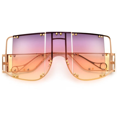 Oversize Studded CutOut Future Fab Sunglasses - Sunglass Spot