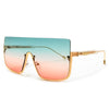 Oversize Flashy Half Frame Shield Sunnies - Sunglass Spot
