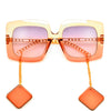Oversize Squared Off Earring Temple Sunnies - Sunglass Spot