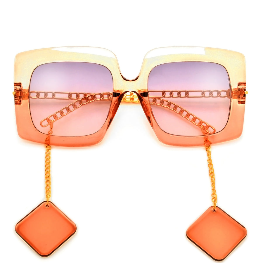 Oversize Squared Off Earring Temple Sunnies