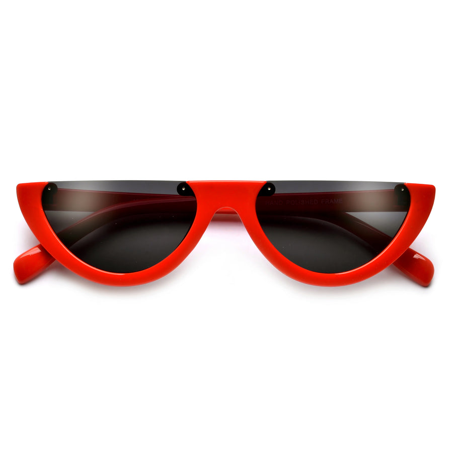 Rimless Flat Top Half Frame Retro Sunnies