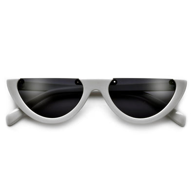 Rimless Flat Top Half Frame Retro Sunnies - Sunglass Spot