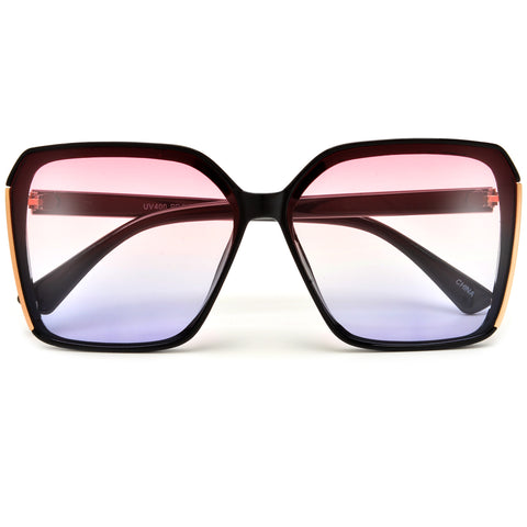 Oversize 60mm Full Metal Frame Pointed Tip Cat Eye Silhouette Sunnies
