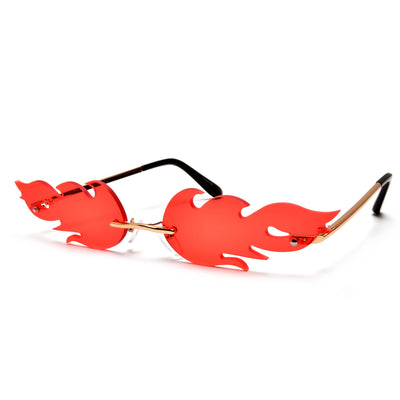 Hot Rimless Flame Fashion Sunnies - Sunglass Spot