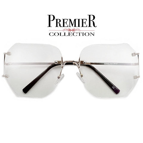 Premier Collection-Women's 65mm Oversize Rimless High Fashion Sunglasses