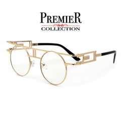 Premier Collection-Full Metal Round Steampunk Clear Lens Eyewear