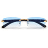 Sleek Rimless Detailed Temple Sunnies - Sunglass Spot