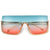 Oversize Flashy Half Frame Shield Sunnies