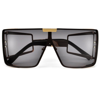 Oversize Full Coverage Cut Out Temple Super Shield Sunnies