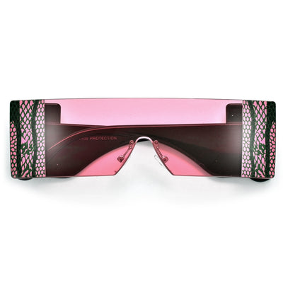 Snake Accentuated Fashion Shield Sunnies