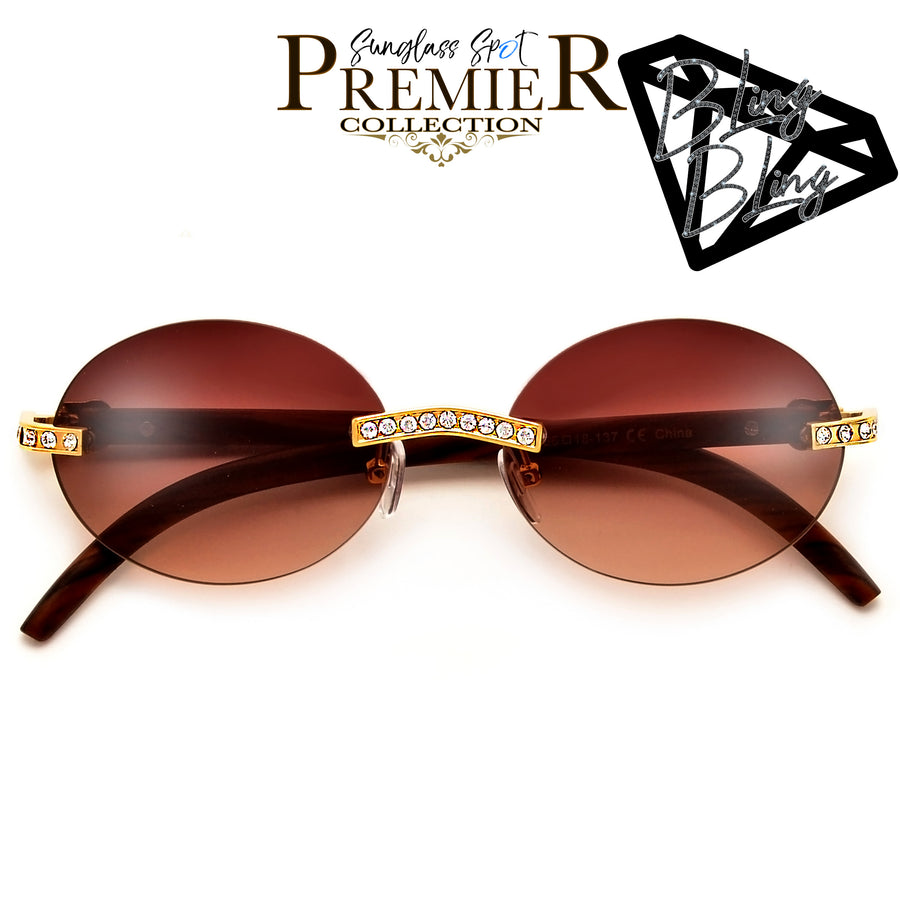 PREMIER BLING BLING COLLECTION-STUNNING CRYSTAL EMBEDDED RIMLESS HIGH FASHION ROUND SUNNIES - Sunglass Spot