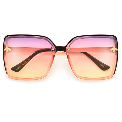 High Fashion Oversize Squared Out Bee Logo Sunnies