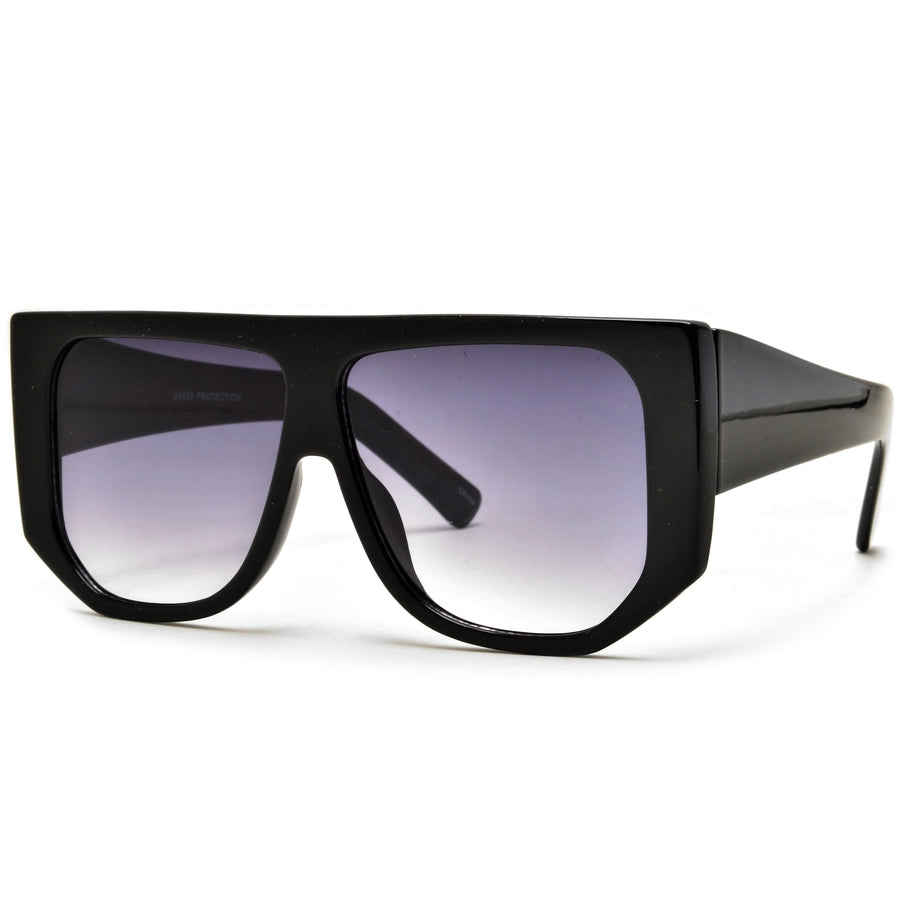 Oversize Flat Top Geometric Frame Sunglasses