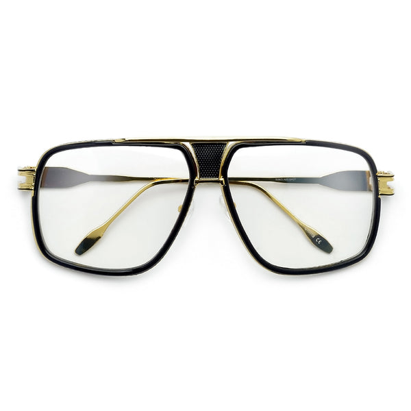 Modernized Gleaming Metal Outline Oversize Squared Off Clear Aviator