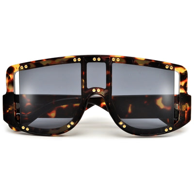 OVERSIZE STUDDED CUTOUT FUTURE FAB BLOCK SUNGLASSES